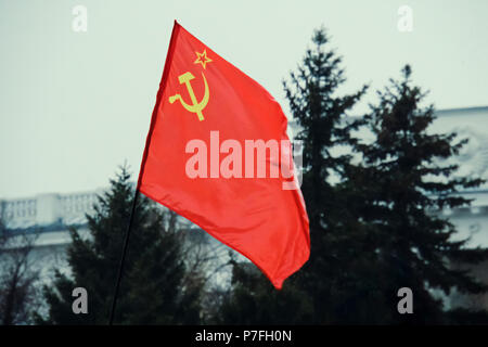 Union of Soviet Socialist Republics USSR HD flag. The flag with the hammer and sickle on a background of green trees. May day demonstration. Parade in - Stock Photo