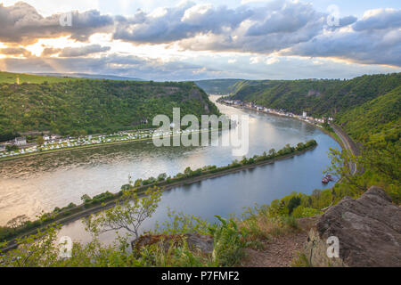 Rhine valley Landscape and Sankt Goarshausen view from the Loreley rock Travel Germany - Stock Photo