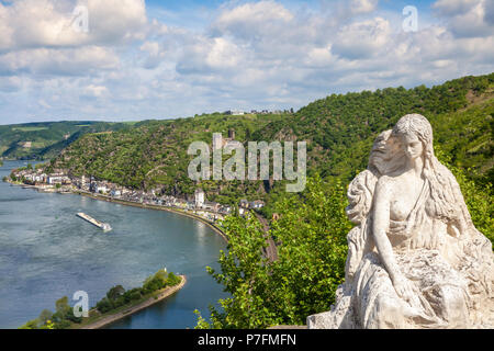 Loreley figure and  Rhine valley Landscape and Sankt Goarshausen view from the Lore Ley rock Germany Intersting Places - Stock Photo
