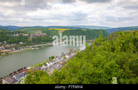 top view of Sankt Goarshausen and St. Goar in the Rhine Valley Germany - Stock Photo