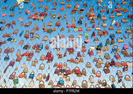 Love locks on pier, Heiligenhafen, Baltic Sea, Schleswig-Holstein, Germany - Stock Photo
