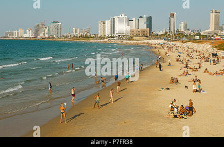 City view, skyline and beach, Tel Aviv, Israel - Stock Photo
