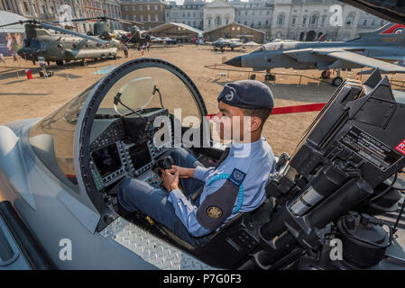 London, UK. 6th July 2018. An Air Cadet (CWO Darrell Kovic) inspects a Typhoon - RAF 100, Horse Guards Parade. As part of the 100th Anniversary celebrations of the Royal Air Force, an exhibition of aircraft covering the RAF's history, from WW1 and WW2 through to the modern age. Credit: Guy Bell/Alamy Live News - Stock Photo