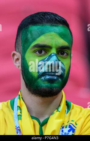 Kazan Arena, Kazan, Russia. 6th July, 2018. FIFA World Cup Football, quarter final, Brazil versus Belgium; Brazilian fan in face paint Credit: Action Plus Sports/Alamy Live News - Stock Photo