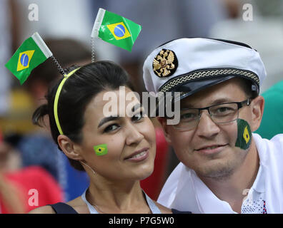 Kazan, Russia. 6th July, 2018. Fans are seen prior to the 2018 FIFA World Cup quarter-final match between Brazil and Belgium in Kazan, Russia, July 6, 2018. Credit: Bai Xueqi/Xinhua/Alamy Live News - Stock Photo
