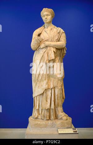 Marble Statue of Roman Empress Sabine d137 in the Vaison-la-Romaine Museum Vaucluse Provence France - Stock Photo