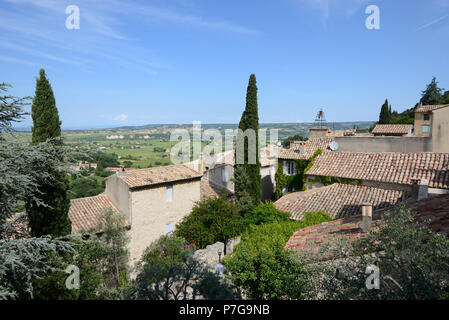 View over the Village Rooftops of Séguret Vaucluse Provence France - Stock Photo