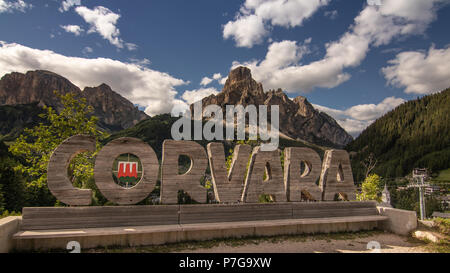 Corvara in Badia Dolomites Italy Sella Ronda Bike Day Sellaronda Tourism Travel Dolomiti mountains Alta Val Badia South Tyrol Trentino Alto Adige Tour - Stock Photo