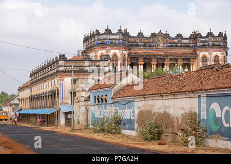 Kanadukathan, India - March 12, 2018: Street scene in the Chettinad region, an area renowned for exceptionally grand houses built in the last century - Stock Photo