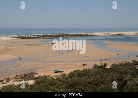 Sandy beach with puddles after a high tide. Trees in the foreground, Atlantic ocean in the background. Blue sky. Cacela Velha, Algarve, Portugal. - Stock Photo