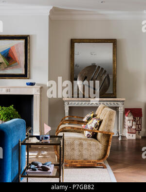 Modern armchairs in living room - Stock Photo