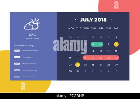 Done Day Planner and Calendar App Ui Ux Design. UI, UX and GUI template layout for Mobile Apps. Calendar widget - Stock Photo