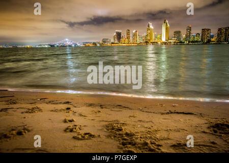 San Diego Skyline with beach and bay as seen from Coronado - Stock Photo