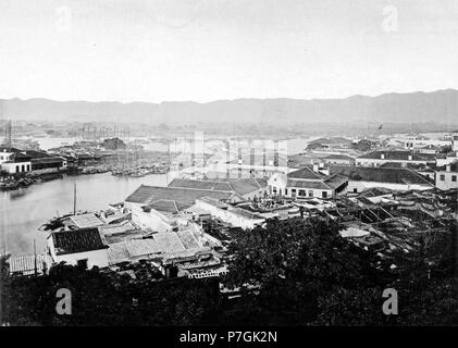 English: Photograph by John Thomson. See detail on the  link below. before 1898 160 FOOCHOW FOREIGN SETTLEMENT - Stock Photo