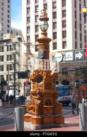 English: Lotta's Fountain - San Francisco, California, USA. This work was dedicated on September 9, 1875. It is now in the  because the artist died more than 70 years ago. 28 June 2014, 12:56:39 249 Lotta's Fountain - San Francisco, CA - DSC03517 - Stock Photo