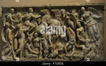 Roman art. Sarcophagus panel depicting the Fall of Phaeton.  2nd century AD. Marble. The State Hermitage Museum. Saint Petersburg. Russia. - Stock Photo