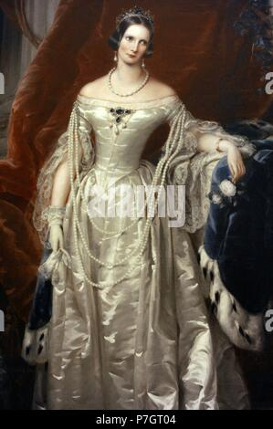 Portrait of the Empress Alexandra Feodorovna (1798-1860). By Christina Robertson (1796-1854), 1840. Oil on canvas. The State Hermitage Museum. Saint Petersburg. Russia. - Stock Photo