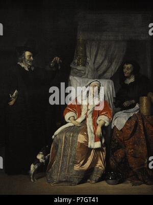 Gabriel Metsu (1629-1667). Dutch painter. Doctor's Visit, 1660s. The State Hermitage Museum. Saint Petersburg. Russia. - Stock Photo