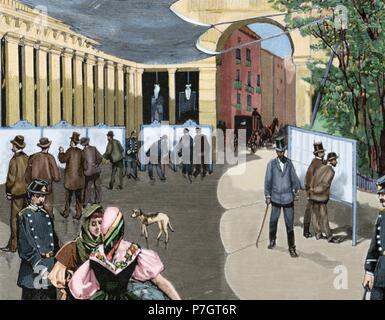 Spain. Madrid. Exhibition of the electoral lists in the May Square, from 31 July to 15 August, 1890. Engraving, 1890. Colored. - Stock Photo