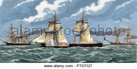 War of the Pacific (1879-1883). Western South america with Bolivia and Peru in front of Chile as a belligerants. Peruvian navy. Engraving by Capuz. La Ilustracio n Espan ola y Americana, 1879. Colored. - Stock Photo