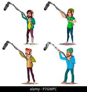 Sound Engineer Set Vector. Man, Woman. Journalist With Microphone. News, Film. Cinematography. Journalism Television. Audio Recording Process. Professional Videography Studio. Cartoon Illustration - Stock Photo