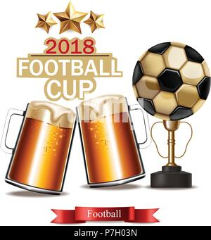 Beer mugs and Football cup winner Vector realistic. 3d mock up illustration - Stock Photo