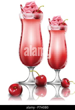 Cherry cocktail drinks Vector. Fresh smoothie in pink glasses illustration - Stock Photo