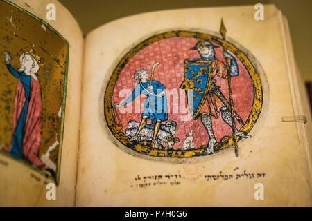 manuscrito hebreo, alrededor de 1278,Museo Judío de Berlín , Berlin, Alemania, Europe. - Stock Photo