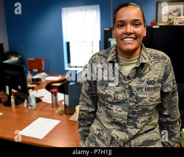 Aviation Resource Management Apprentice Airman 1st Class Carlisa Dixon is a drill status Guardsman celebrating her one year anniversary in the Air National Guard today, June 27, 2018. When Dixon is not assigned to the 171st Air Refueling Wing Operations Support Squadron, she works as a substitute teacher with Steel Valley High School. She attended college on multiple full scholarships for basketball at California University of Pennsylvania and Slippery Rock University where she graduated with an associates degree in Liberal Arts and a Bachelors in Science. (U.S. Air National Guard photo by Sta - Stock Photo