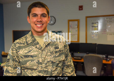 Aviation Resource Management Journeyman Airman 1st Class Corey Bogaski is a drill status Guardsman assigned to the 171st Air Refueling Wing Operations Support Squadron. A Beechview native, he has two and a half years of service in the Air National Guard. He is a sophomore at Community College of Allegheny County majoring in Engineering Science. Airman 1st Class Bogaski spends his free time as a boxer and a wrestler. (U.S. Air National Guard photo by Staff Sgt. Bryan Hoover) - Stock Photo