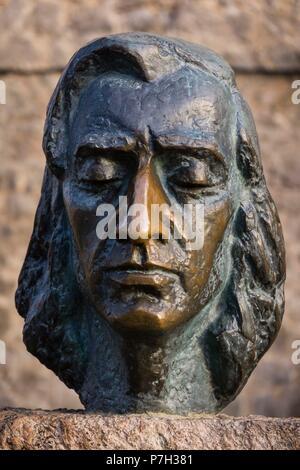 Fryderyk Chopin, escultura realizada por Zofia Wolska, cartuja de Valldemosa, siglo XV, Mallorca, balearic islands, spain, europe. - Stock Photo