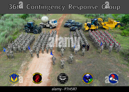 The 36th Contingency Response Group pose for a group photo
