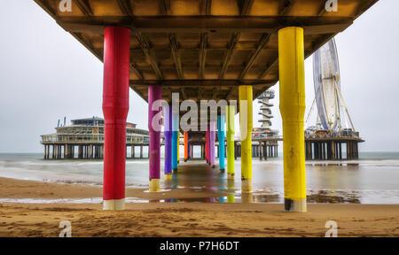 View from underneath the famous Pier in Scheveningen near Hague, Netherlands - Stock Photo