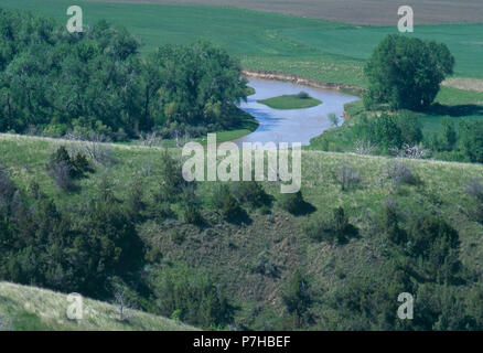 Little Bighorn River flowing through Custer Battlefield National Monument, Montana. Photograph - Stock Photo