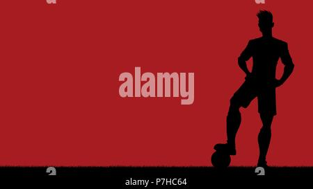 Football Player Silhouette Background - Stock Photo