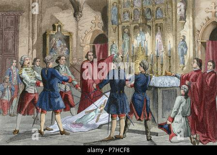 War of Spanish Succession (1702-1715). Oath of the captains of Barcelona who commands the troops of Antonio de Villarroel, Commander in Chief of the Army of Catalonia. Engraving by Urbadieta and J. Nicolau. 19th century. Colored.