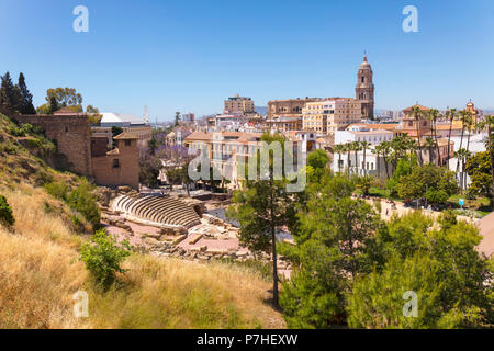 Malaga, Costa del Sol, Malaga Province, Andalusia, southern Spain. City view showing Roman theatre and cathedral. The Alcazaba can be seen to the left - Stock Photo