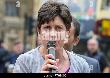Over 100 highly skilled professionals such as doctors, engineers, teachers IT professionals working in public and private sectors demonstrates outside Houses of Parliament against the Home Office negative decisions on Indefinite Leave to Remain applications and refusal for tax corrections under section 322 (5) of immigration rules.  Featuring: Alison Thewliss SNP Where: London, United Kingdom When: 05 Jun 2018 Credit: Dinendra Haria/WENN - Stock Photo