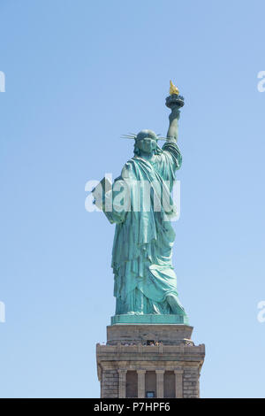Statue of Liberty, New York, USA Symbol of Freedom, Rear View - Stock Photo