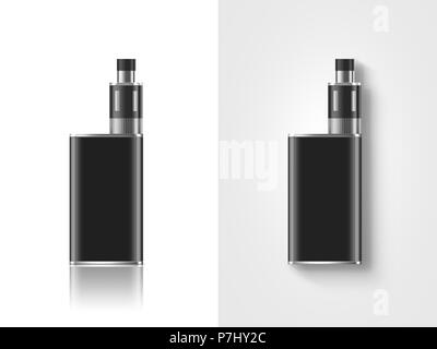 Blank black vape mod box mockup isolated, clipping path, stand and lies, 3d illustration. Clear smoking vapor mock up template. Modbox vaporizer devic - Stock Photo