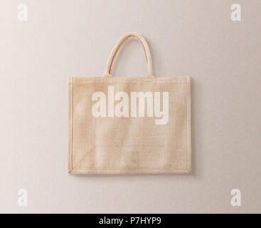 Blank brown cotton eco bag design mockup isolated, clipping path. Textile cloth customer bag mock up template. Tote shoe consumer reusable organic craft package. Carrier recycle textured grossery bag. - Stock Photo