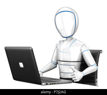3d futuristic android illustration. Humanoid robot working with a laptop and thumb up. Isolated white background. - Stock Photo
