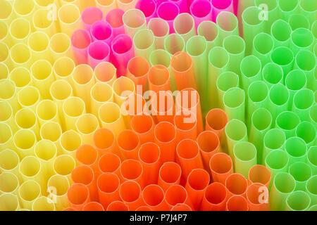Coloured Plastic Straws. - Stock Photo