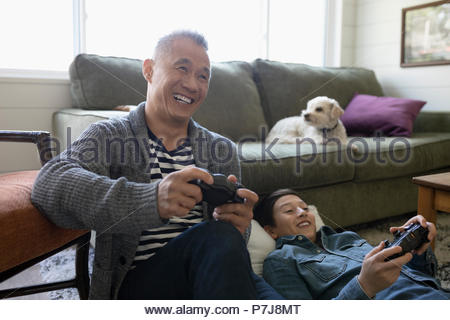Dog watching happy father and son playing video game in living room - Stock Photo