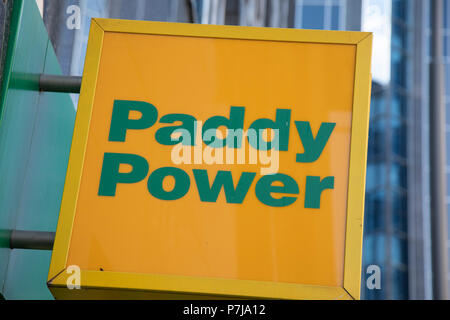 Sign for the gambling brand Paddy Power in Birmingham, United Kingdom. - Stock Photo