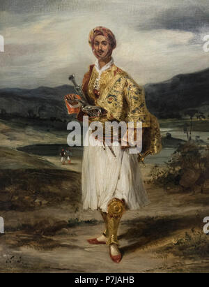 Eugène Delacroix (1798-1863), Count Palatiano (1794–1849) in a Greek National Costume, 1826. National Gallery in Prague (Národní galerie v Praze).   O