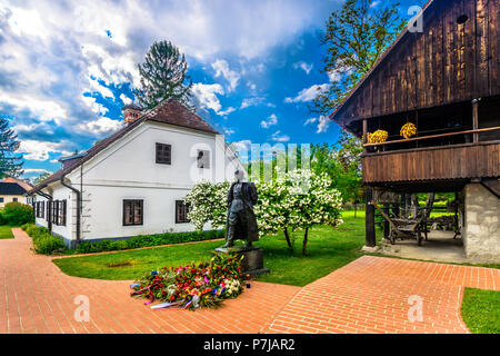 Scenic view at picturesque tourist resort Kumrovec in Northern Croatia, historical places and birth place of Josip Broz Tito. - Stock Photo