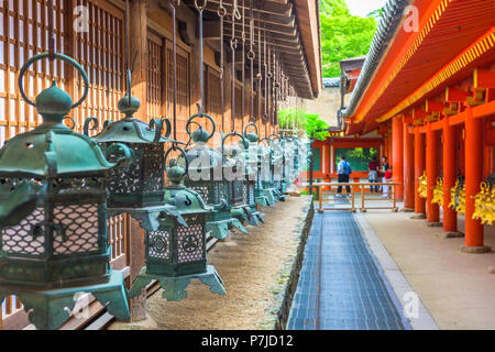Nara, Japan at Kasuga Taisha Shrine hanging lanterns. - Stock Photo