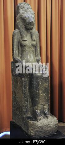 Statue of the Goddes Sekhmet-Mut. 14th c. BC. New kingdom, 18th Dynasty. Granite. The State Hermitage Museum. Saint Petersburg. Russia. - Stock Photo