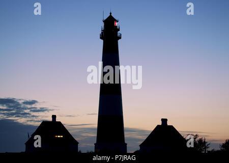 Lighthouse Westerheversand, peninsula Eiderstedt, Schleswig - Holstein, Germany, - Stock Photo